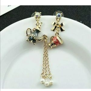 Jewelry - Rhinestone Teapot Pearl & Teacup Earrings